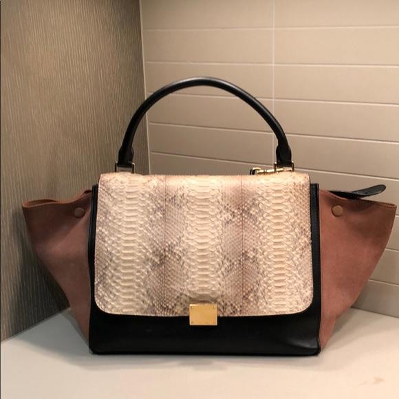 5df91d65e5fa Celine Handbags - Celine Tricolor Python & Suede Medium Trapeze